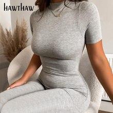 Hawthaw-mono ajustado de manga corta para mujer, moda de verano, mono de Color sólido, ropa de calle 2021