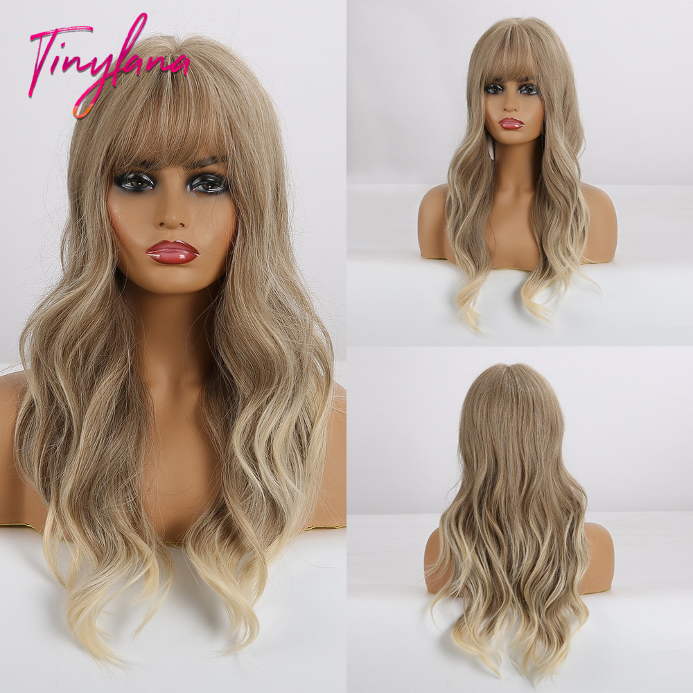 TINY LANA Wavy Synthetic Wig Long Light Brown Blonde Wigs for Women with Bangs for Women Lolita Cosplay Costume Wigs