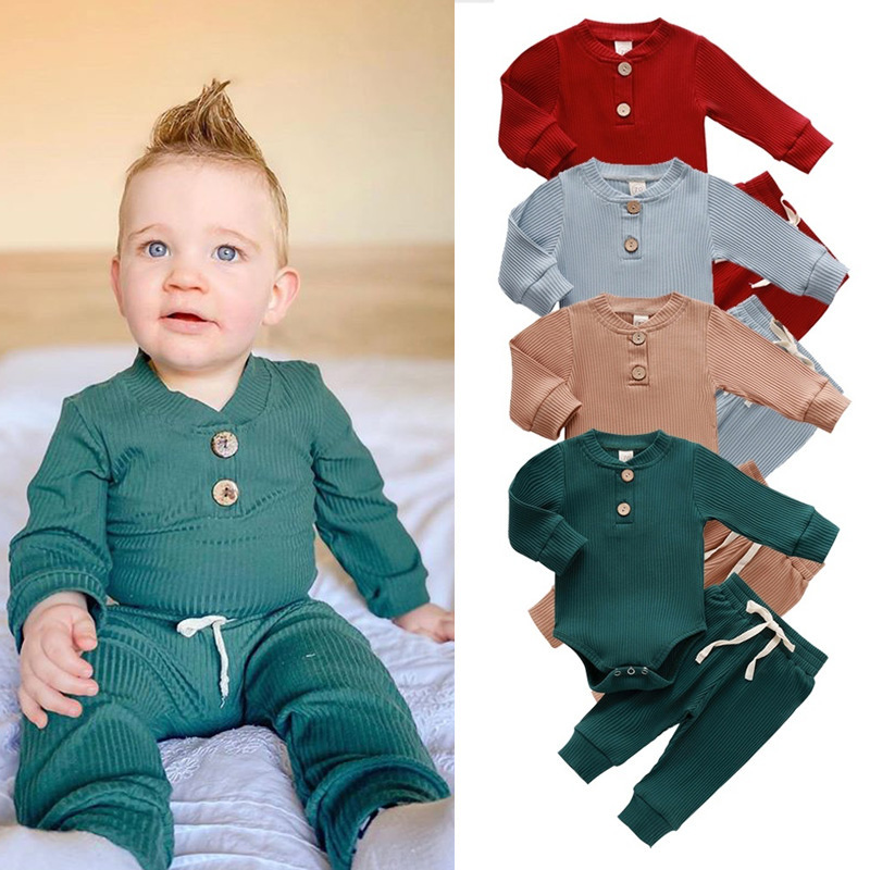 Infant Newborn Baby clothes  Girls Boys Spring Autumn Ribbed Solid Clothes Sets Long Sleeve Bodysuits + elastic pants 2pcs