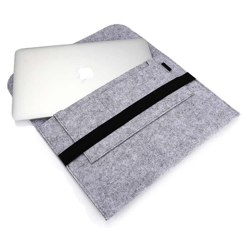 حقيبة لابتوب لينة الخشب فيلت كم حقيبة القضية ل أبل ماك بوك برو الهواء الشبكية 11 13 15 لابتوب ماك كتاب 13.3 بوصة
