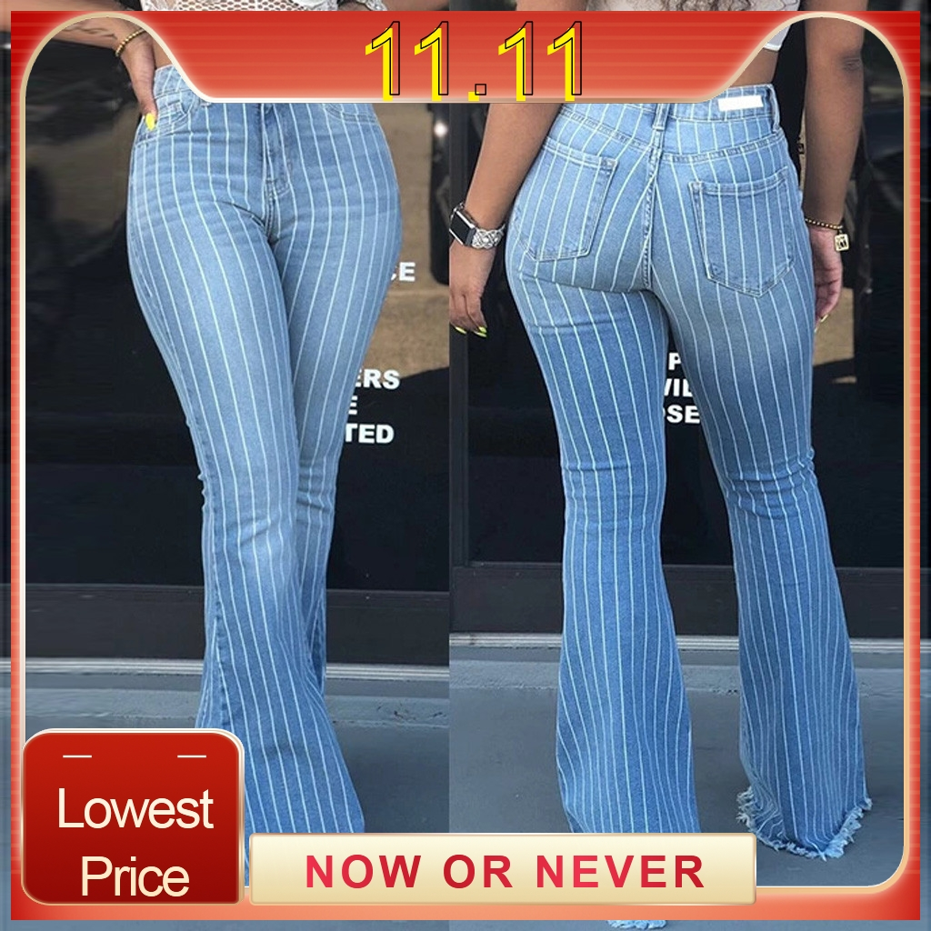 Fall Spring Fashion Denim Flare Jeans Women High Waisted Buttons Stretch Tassel Blue Autumn Elastic Jeans Fall Spring Fashion Denim Flare Jeans Women High Waisted Buttons Stretch Tassel Blue Autumn Elastic Jeans Trousers For Woman