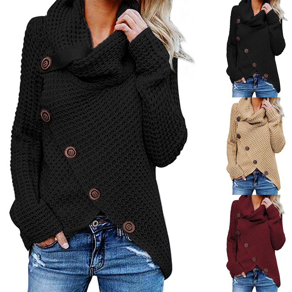 Fadzeco Women Knitted Turtleneck Sweater Winter Autumn Pullovers Tops Casual Long Sleeve Button Deco Sweater Tops