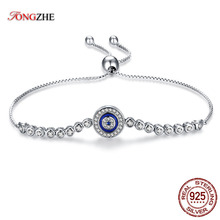 TONGZHE Summer Collection Blue Lucky Eye Bracelet 925 Sterling Silver Bracelets  Charm Clear CZ for Women Men Fine Jewelry