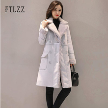 Women Fashion Lamb Wool Lining Coat Winter 2019 New Female Thickening Medium Long Turn-down Collar Double-breasted Suede Overco