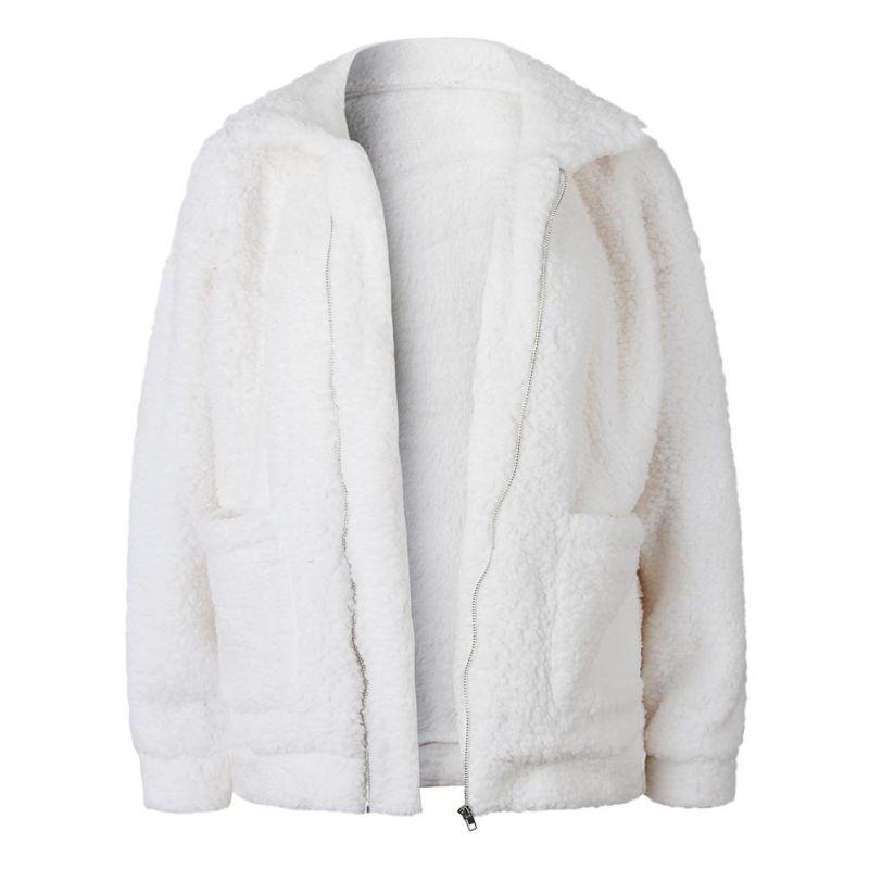 Elegant Faux Fur Coat Women 18 Autumn Winter Warm Soft Zipper Fur Jacket Female Plush Overcoat Pocket Casual Teddy Outwear 34