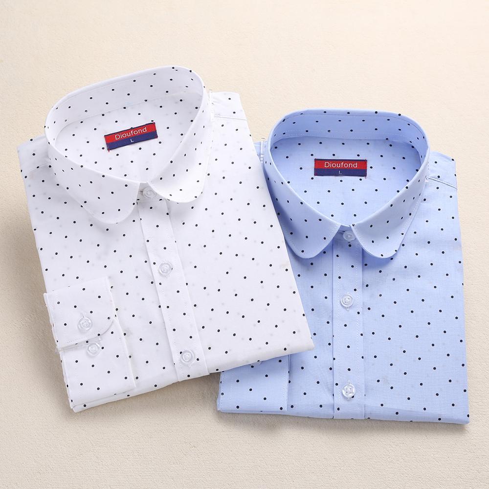 Dioufond Fashion Polka Dot Blouse Long Sleeve Shirt Women Blouses Cotton Women Shirts Red Blue Dot Top Blusas Women Tops