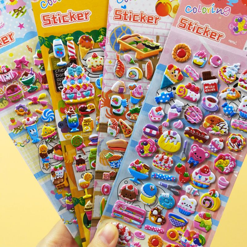 4 Sheets Cute Stickers Cartoon Animal Food Car Letter Numbers 3D Puffy Bulk Sticker Kids Baby Classic Toy 8 Types