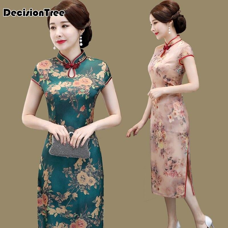 2019 традиционное повседневное современное китайское платье Ципао с коротким рукавом для свадьбы Восточно китайское платье восточные плать