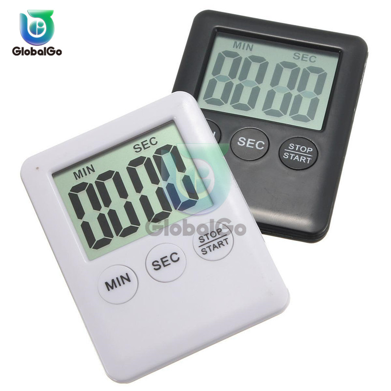 Super Thin LCD Digital Screen Kitchen Timer Square Cooking Count Up Countdown Alarm Sleep Stopwatch Clock Sport
