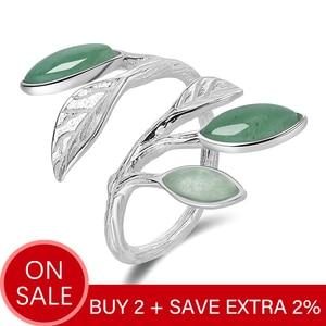 Image 2 - 蓮楽しいリアル 925 スターリングシルバーオープンリング天然石手作りデザインファインジュエリー春で空気葉リング女性のための