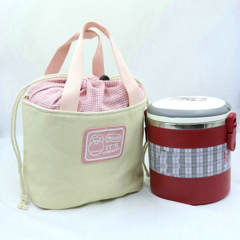 Sansebuding New Style Contrast Color Bento Box Bag Large Size Lunch Bag Canvas Handbag Drawstring Bag