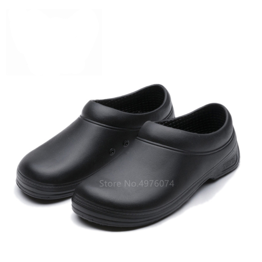 Food Service Man Chef Oil-proof Waterproof EVA Leather Shoes Black Master Cook Kitchen Resistant Breathable Work Slippers