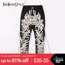 TWOTWINSTYLE Hit Color Patchwork Bandage Women's Trouser High Waist Casual Slim Pants For Female Summer 2021 Streetwear Fashion