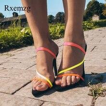 Rxemzg modne pantofle sandały letnie czarne buty na wysokim obcasie kobiety pompy sexy odkryty panie kapcie muły buty damskie sandały