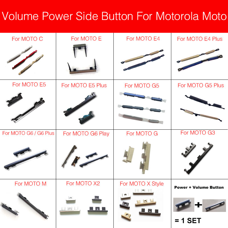 1 Set Side Volume Button Power Keypad For Motorola Moto C M G G3 G5 Plus G6 Play E E4 E5 Plus X Style X2 Switch On Off Button