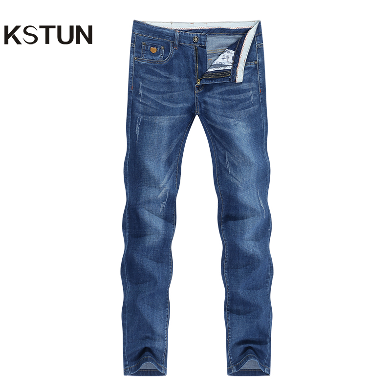 KSTUN Jeans Men Summer 2020 Blue Slim Straight Denim Pants Casual Fashion Men's Trousers Full Length Cowboys Male Jeans Hombre