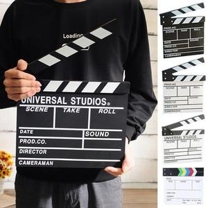 Director's Film Clapboard Action Scene Clapper Board Wooden Movie Film Clap Slate,L,Black