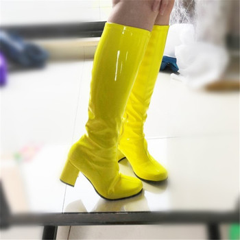 Cindy Color Zip Square Heel Lady Western Boot Shoes Size 33-43 Women Knee High Boots Patent Leather High Heels Boots Shoes Woman