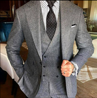 2020 New Grey Men Suit For Wedding Tweed Blazer Double Breasted Vested Lapel Tuxedos Two Button Tweed Weddin wedding Suits