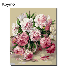 Modern Flowers Frameless  Peony DIY Painting By Numbers Wall Art Picture Acrylic Paint Unique Gift For Home Decor 40x50cm