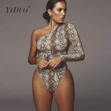 YiDuo One Shoulder Fashion Snake Print Sexy Bodysuits Short Romper Womens Jumpsuit