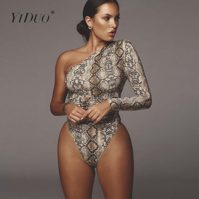 YiDuo One Shoulder Fashion Snake Print Sexy Bodysuits Short Romper Womens Jumpsuit Slim Long Sleeve Female Leopard Body Mujer
