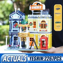 Building-Blocks Brick-Toys Model-Assembly Led-Light Christmas-Gift Moc Streetview Kids