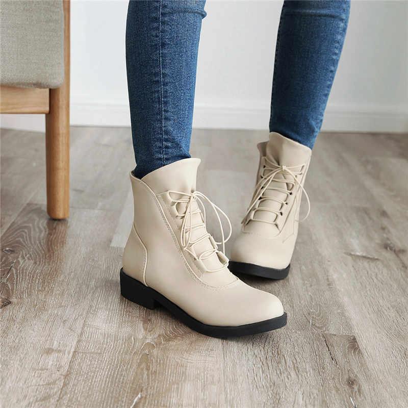 ASUMER 2020 yeni yarım çizmeler kadınlar için yuvarlak ayak kayma sonbahar kış çizmeler kare topuklu ayakkabılar kadın botları büyük boy 34-43