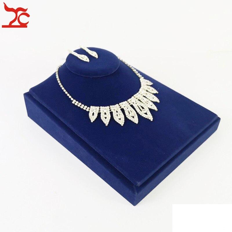 Купить с кэшбэком Velvet Jewelry Display Holder Blue Ring Necklace Bracelet Jewelry Organizer Storage Stand Engagement Jewelry Counter Showcase