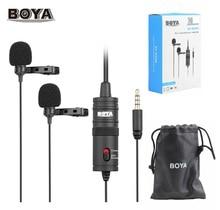 BOYA Micrófono de BY M1DM con Cable de 6M, solapa Lavalier de doble cabeza con Clip para videocámaras DSLR, Canon, Nikon, IPhone, grabación de PC