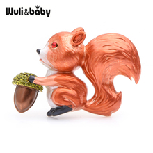 Wuli&baby Cedar Squirrel Brooches Women Alloy Orange Animal Enamel Brooch Pins Gits