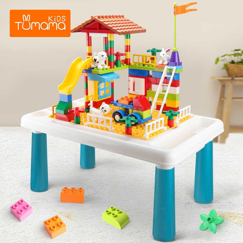 TUMAMA بنة مكتب حجم كبير متوافق Duploed الجدول متعدد الوظائف طاولة تعليمية طاولة للدراسة لعب للأطفال