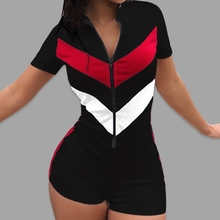 2020 Sexy Jumpsuit Women Summer Zipper Short Sleeve Stitching Color Casual Female Playsuit Shorts Ro