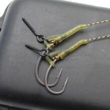 30 шт. рыболовные аксессуары для ловли карпа, рукава с крючком, готовые d-rig леска, Выравнивающая щетка для волос, Zig rig, Клеммная снасть, всплыва...