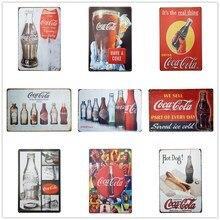 Европейский регион Особенности металл старый оловянный знак Кока кола Классический плакат доска Бар Паб Клуб кафе тарелка для декора стен искусство