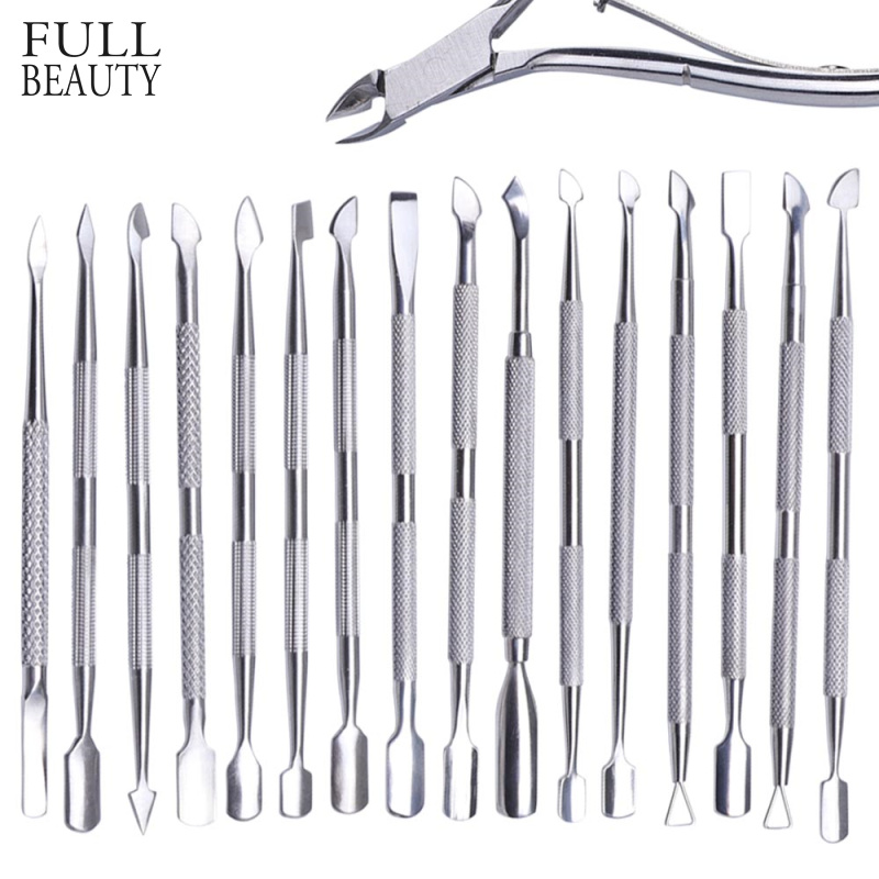 17 Type Stainless Steel Cuticle Pusher Manicure Pedicure Cutter Spoon Remover Dead Skin Double Side Nail Art Cleaner Tool CHA17