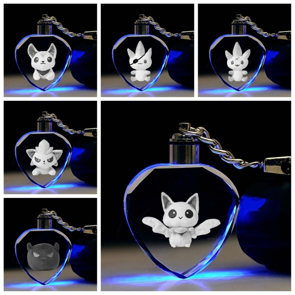 LOL Ezreal Soraka Star Guardians Crystal Keychain League Of New Legends Syndra Elf Cute Colorful LED Pendant Key Chains Breloki