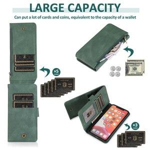 Image 3 - محفظة سحاب SE 2020 حافظة لهاتف آيفون 12 Mini 11 Pro Max XS XR X 8 7 6 6S Plus حافظة بطاقات جلدية قابلة للطي