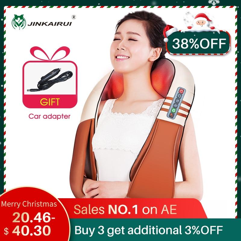 (С подарочной коробке) JinKaiRui U Форма Электрический шиацу сзади на шее плечо Body массажер инфракрасный с подогревом разминание Car/дома Massagem