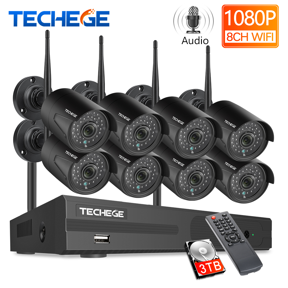 Techege 8CH CCTV System 1080P HD Audio Wireless NVR Kit Outdoor Night Vision Security IP Camera WIFI CCTV System Plug & Play