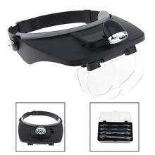 Head Magnifying Glasses with LED 10 Power Magnifier for Reading Optivisor Magnifying Glass Loupes Jewelry Watch Repair 3 Lamp цены