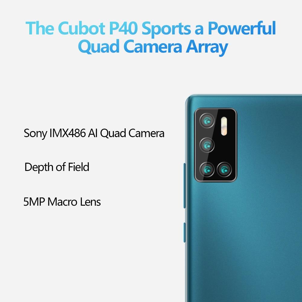 Cubot P40 Quattro Fotocamera Posteriori Dello Smartphone Offerta 4 Fotocamere Posteriori NFC 4GB + 128GB Da 6.2 Pollici 4200mAh Batteria Google Android 10 Doppia SIM Card del telefono mobile 4G LTE celular Face ID