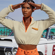 Goocheer Apricot Casual Stand Collar Zip Half Placket Pocket Sweartshirt Autumn Minimalist Fashion Women Streetwear Sweatshirts