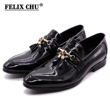 FELIX CHU Luxury Mens Dress Loafer Golden Metal Tassel Shiny Patent Leather Wedding Party Casual Shoes For Men