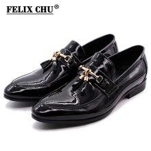 FELIX CHU Luxus männer Kleid Loafer Goldene Metall Quaste Shiny Patent Leder Hochzeit Party Casual Schuhe Für Männer