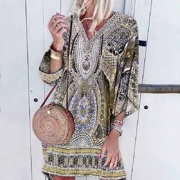 Ladies Bohemian print Dress Women V-neck Beach Printing Leisure Time On Vacation Long Sleeves Dress Loose Beach Dress Vestidos 2