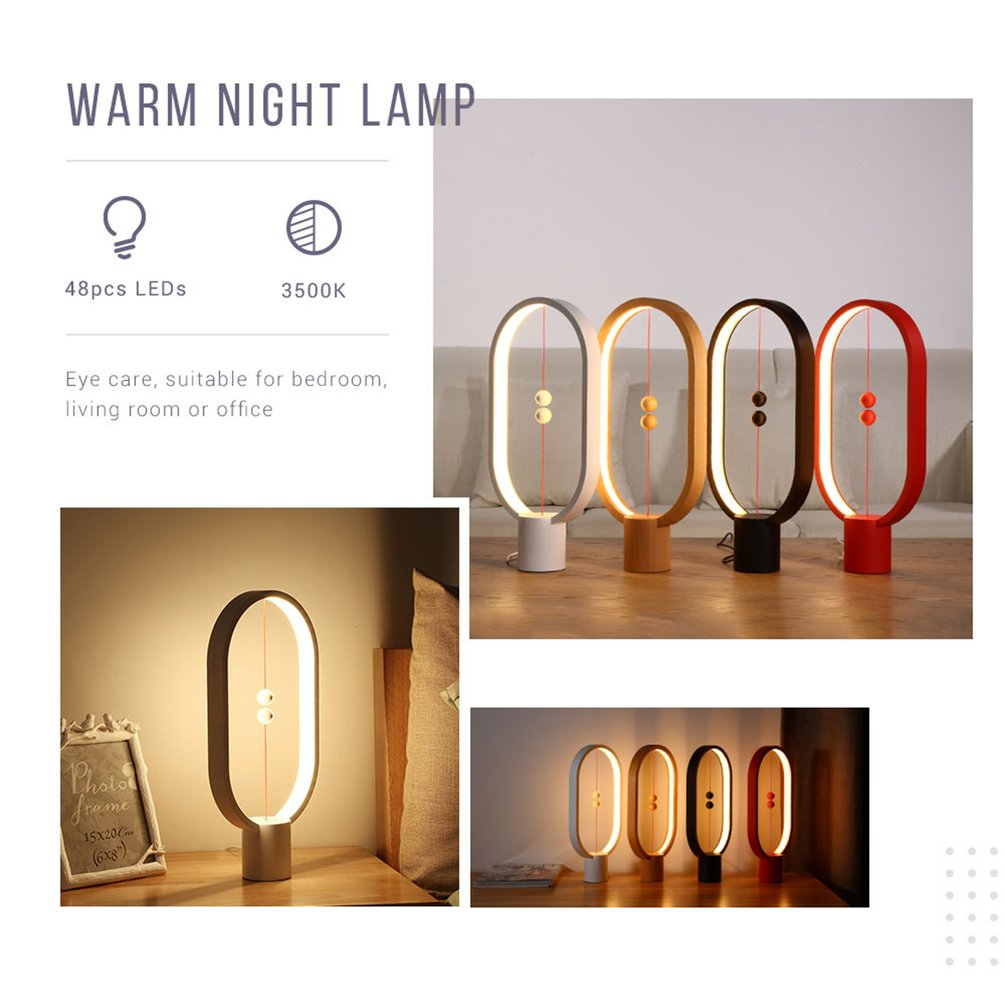 Magnetic Lamp Balance Creative Smart Lighting Lights LED Ellipse Desk Lamp Magic Floating Balls Switch USB Powered Lamps