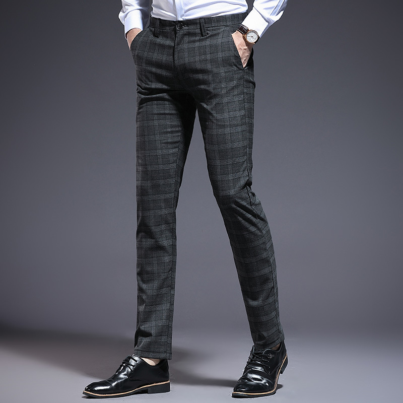 New Style Plaid Men Casual Pants Korean-style Fashion Pattern MEN'S Trousers Youth Slim Fit MEN'S Trousers Casual Pants Men's