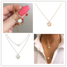 European and American new accessories French Design Multi-layer Sunflower Necklace Fashion Opal Clavicle Chain Women