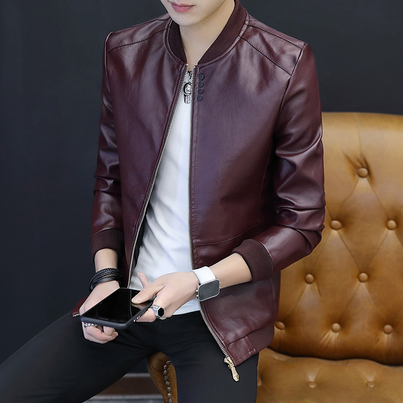 New Style MEN'S Leather Coat Spring And Autumn Korean-style Trend Slim Fit PU Leather Jacket Youth Handsome Casual Versatile MEN